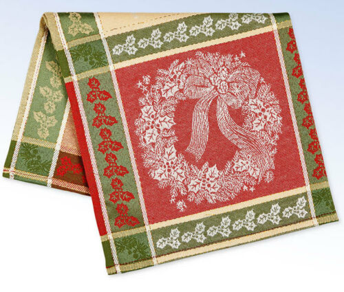 """Bardwil Holiday HOLLY WREATH Jacquard 13/""""x19/"""" PLACEMAT Christmas Table Linens"""