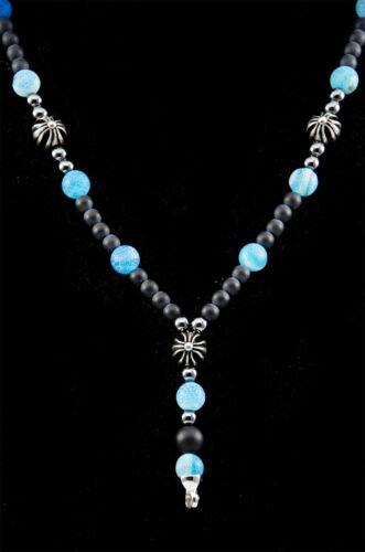 Caballeros hombres señora rosario collar collar de perlas azul negro Onyx achat nuevo