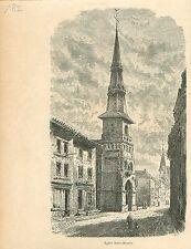Eglise Saint-Martin de Lubbeek Vlaams-Brabant GRAVURE ANTIQUE OLD PRINT 1880
