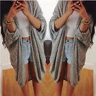 Damen Cardigan Jacke Pullover Pulli Look Oversize Poncho Cape Strickjacke S M L