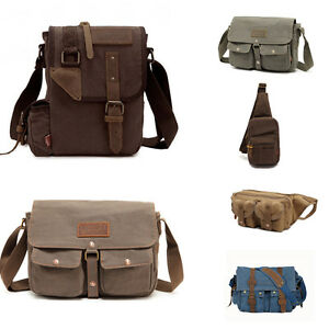 3f80a36bb Image is loading Men-Vintage-Style-Canvas-Leather-Satchel-School-Military-