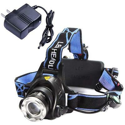 Rechargeable 2000Lm CREE XM-L T6 LED Zoomable Headlamp Headlight + AC Charger WH
