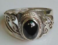 Sterling Silver Traditional Asian Vintage Style Black Star Ring Size R Gift