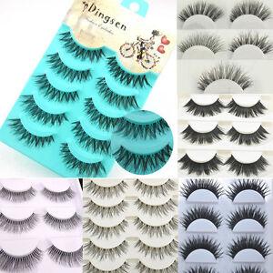 5-6-10-Pairs-Long-Thick-CROSS-False-Eyelashes-Eye-Lashes-Extension-Makeup-Beauty