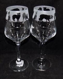 New-Etched-034-BORDER-COLLIE-034-Wine-Glass-es-Free-Gift-Box-Large-390mls-Glass