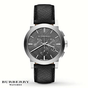 0addabe5a5e9 NIB BURBERRY Mens Watch The City Black Leather PVC Silver Case 42MM ...