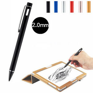 2mm capacitive touch screen pen superfine nib active stylus w usb charging ebay. Black Bedroom Furniture Sets. Home Design Ideas