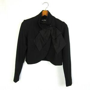 Joseph-Ribkoff-Womens-4-Black-Long-Sleeve-Bow-Front-Bolero-Style-Jacket-NEW