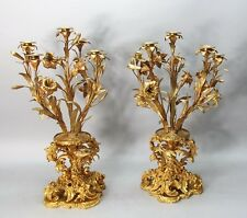 Impressive & Large 19th C. FRENCH GILT BRONZE Candelabra  c. 1890   antique