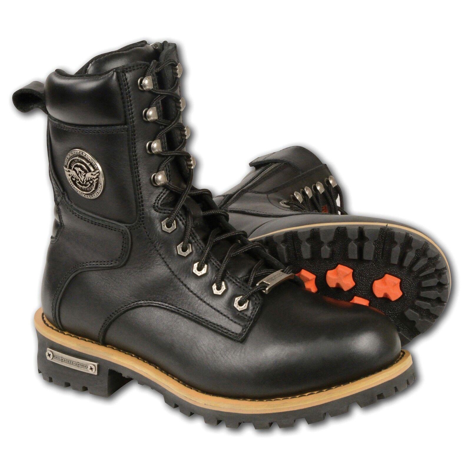 Milwaukee Leather  Men's Lace To Toe Biker Boots w  Side Zipper ClosureMBM9095W