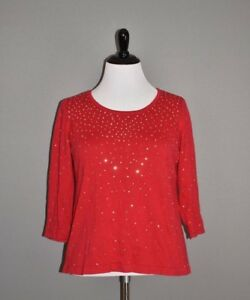 ALFANI-70-Red-Long-Sleeve-Back-Zip-Pullover-Sweater-Bead-Embellished-Size-1X