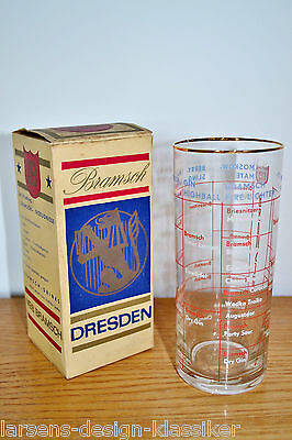 BRAMSCH Likörfabik Dresden Cocktailglas Trinkglas Glas Mixen Skala Rezept VEB