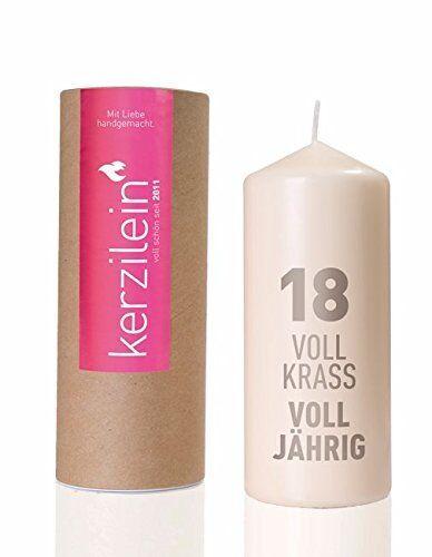 """von Kerzilein Geburtstags-Kerze /""""18 Voll Krass Voll Jährig/"""" in weiß /& grau"""