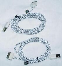 2 WHITE SIX FT IPHONE 4 I PAD CHARGING CABLE CORDS charge cord usb cell phone RD