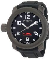 New Mens Invicta 1547 Gunmetal IP Sea Hunter Black Dial Black Rubber Date Watch