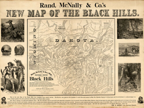 1877 Black Hills South Dakota Wyoming Gold Rush Map Mines Mining Fields Poster