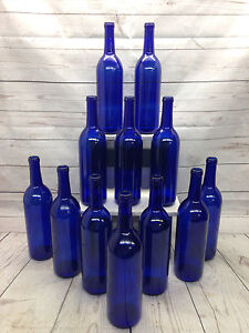 12 750ml cobalt deep blue bourdeax bottles beer wine for Decor 750ml