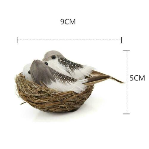 1-Set Realistic Feathered Birds with Nest Birds Egg Craft New Artificial Z7G3