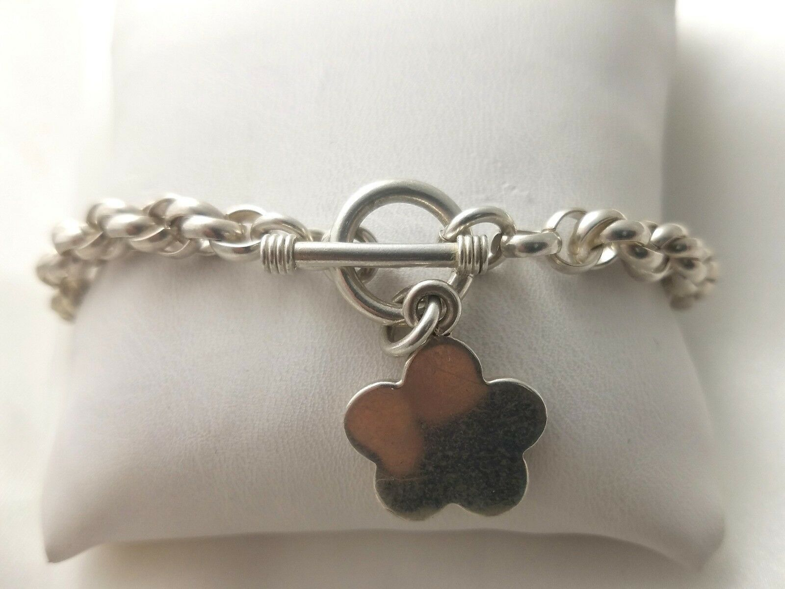 Mexico Sterling Star-Charm Toggle Chain  Bracelet  29.2g