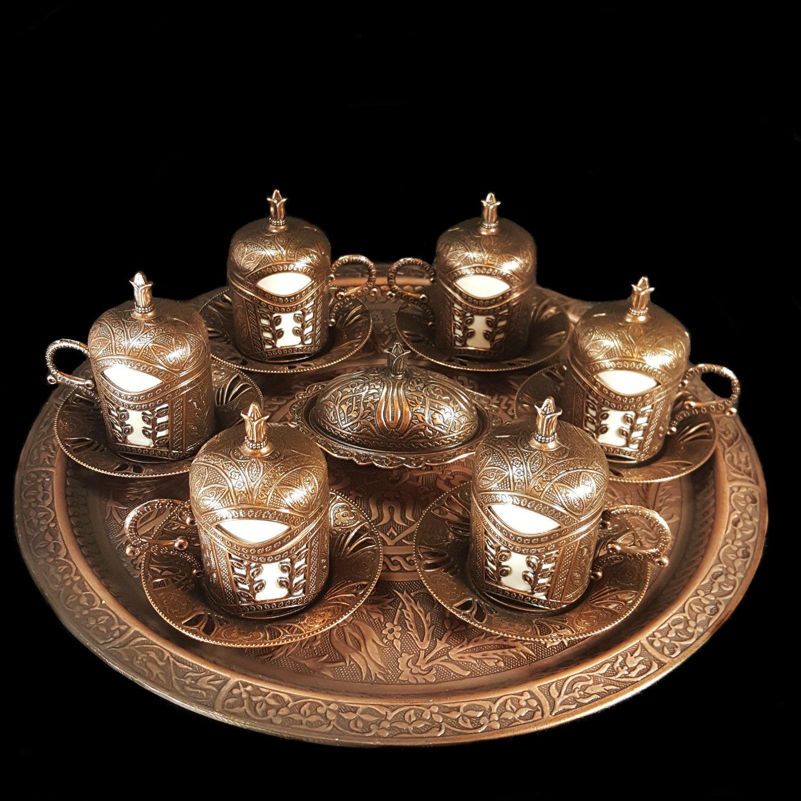 Ottomane Turkish Marokkanische Bronze Messing Tee Kaffee Untertasse Tassen   | Sale Online