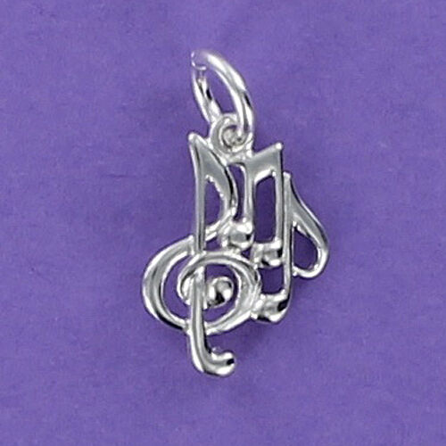 Music Charm Sterling Silver for Bracelet Symbol Collage Clef Notes Musician Tiny