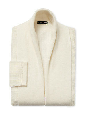 "Brand NWT $400 Sofia Cashmere Ivory 100% Cashmere Thermal Short 37-38"" Robe Sz M"