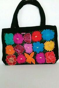 diseño superior descuento hasta 60% bajo precio Details about Mexican Embroidered Handbag With Flowers/ Bolsa Artesanal  Mexicana de Chiapas