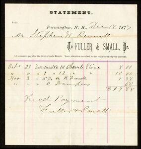 1877 Fuller Small Of Farmington Nh Receipt For Cherub