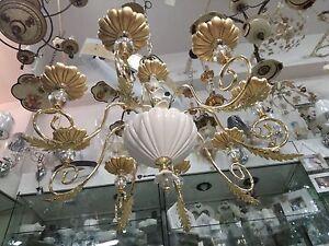 Lampadario Bianco E Cristallo : Lampadario via veneto in metallo e ceramica bianco e oro con
