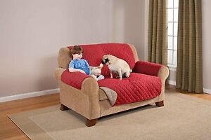 Marvelous Details About Deluxe Reversible Ped Dog Loveseat Furniture Protector Quilted Cover Red Tan Squirreltailoven Fun Painted Chair Ideas Images Squirreltailovenorg