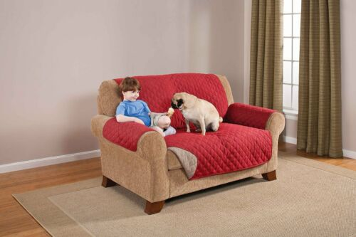 DELUXE REVERSIBLE PED DOG LOVESEAT FURNITURE PROTECTOR QUILTED COVER Red Tan