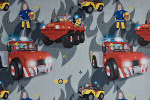Fireman-Sam-Fabric-Large-Children-039-s-Design-100-Cotton-Curtains-amp-Cushions
