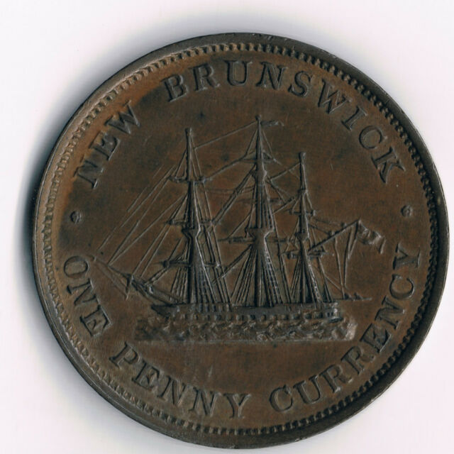 New Brunswick 1D 1854; NB-2B2/BR912,  incomplete ensign:  High Grade