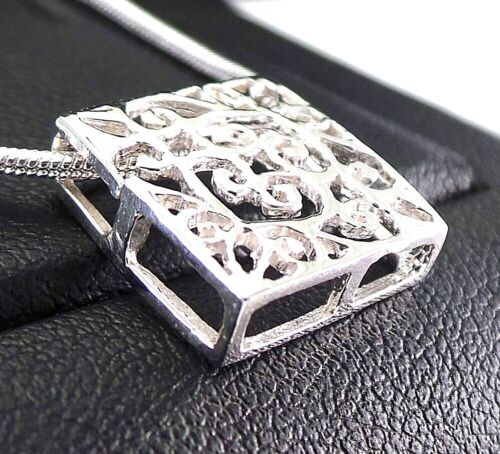 "1.21g Solid Sterling Silver 0.55/"" Square Lace Box Pendant Delicate Slide Through"