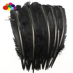 10-100pcs-lot-Noir-Pur-10-12-in-Turquie-plume-plumes-pour-fashion-Decorations
