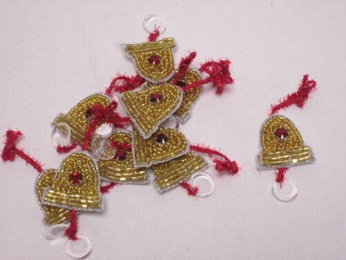 10 X Navidad Oro Beaded Campanas tarjeta haciendo Artes Manualidades Bordado motivos # 6a11
