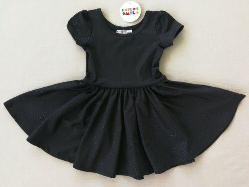 Details about  /Girls/' Short Sleeve Black Polka Dot Knit Dress Dot Dot Smile 12-24M