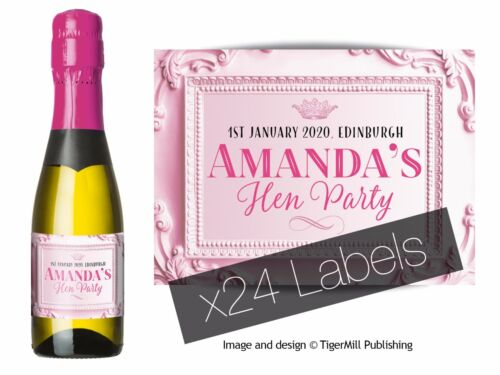PERSONALISED baby pink MINI Champagne Wine bottle labels Wedding Hen Anniversary
