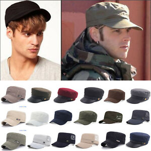 Men Women Classic Adjustable Army Plain Hat Cadet Military