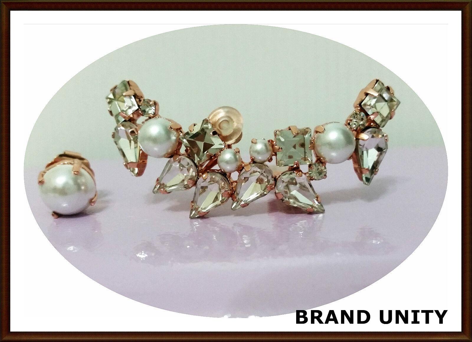 Mimco Varsity Crystal Ear Curf Earrings BNWT RRP  129 Pearl pinkgold