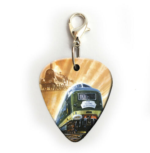 The Flying Scotsman Train Print Guitar Pick Plectrum Necklace Badge keyring