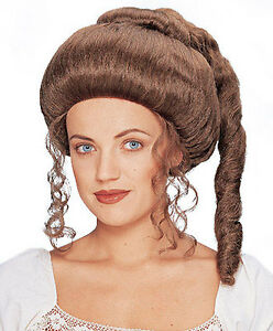 Victorian Lady Womens Adult Renaissance Brown Curly Costume Wig