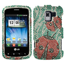 For LG Optimus Zip L75C Crystal Diamond BLING Case Phone Cover Ladybugs