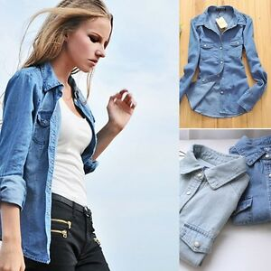 Women Ladies Girl Retro Vintage Long Sleeve Blue Jean Denim Shirt ...
