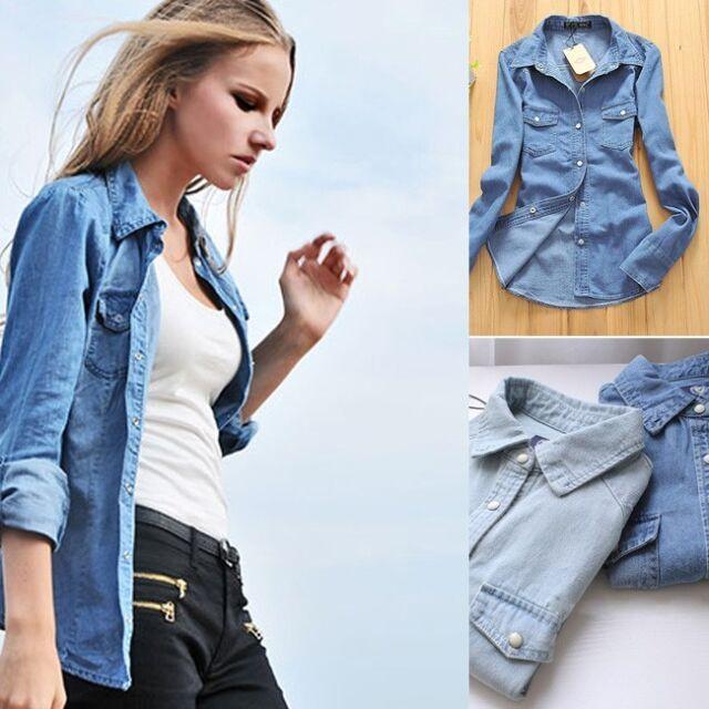 Women Lady Girl Retro vintage Long Sleeve Blue Jean Denim Shirt Tops Blouse