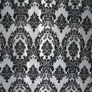 10-Yards-30ft-Black-White-Flocking-Damask-Taffeta-Fabric-58-034-Flocked-Velvet