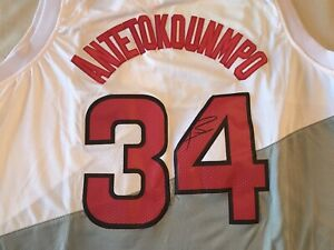 6a48a7b7d93 Image is loading Giannis-Antetokounmpo-Milwaukee-Bucks-Autographed-Signed- Jersey-size-