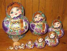Russian nesting dolls LILAC GOLD HAND PAINTED Pyrography Matryoshka 10 MAMAYEVA