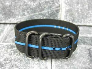 Ballistic Nylon Diver Strap 3 Rings Black Watch Band PVD for Zulu Blue Stripe