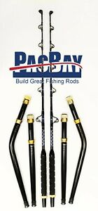 PAIR-OF-STRAIGHT-AND-BENT-BUTT-TROLLING-ROD-PACIFIC-BAY-ROLLER-GUIDES-50-80LB